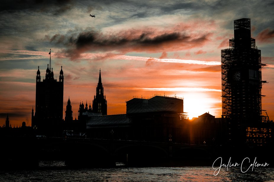 This is The Houses of Parliament (London) taken at sunset. Big Ben is all wrapped as major refurb...