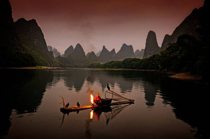 Early morning at the Li river with cormorant fisherman Black Beard  by spikerbagger - Monthly Pro Photo Contest Vol 48