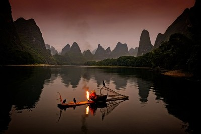 Early morning at the Li river with cormorant fisherman Black Beard