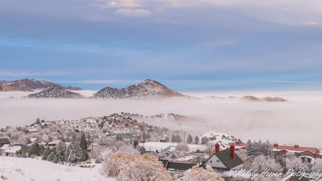 Winter has wrapped Virginia City, NV in a layer of snow and clouds