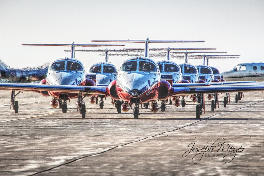 Canada's RCAF Snowbird Air Demonstration Team taxiing in after completing an air show. A...