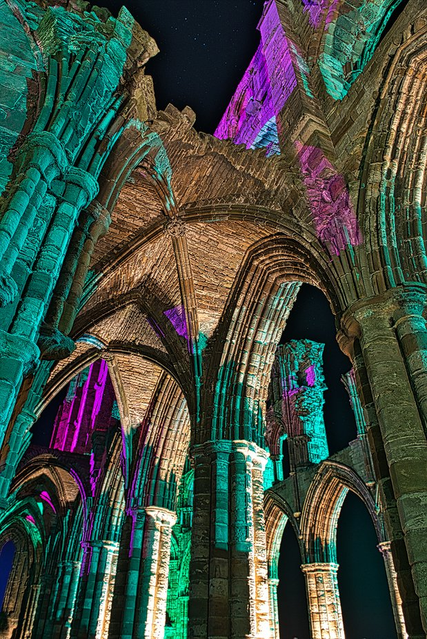Whitby Abbey  UK  bathed in coloured lighting