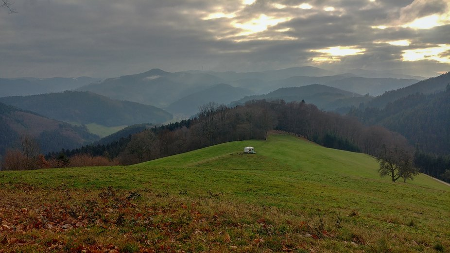 Hiking in Black forest Germany on December and found this caravan.