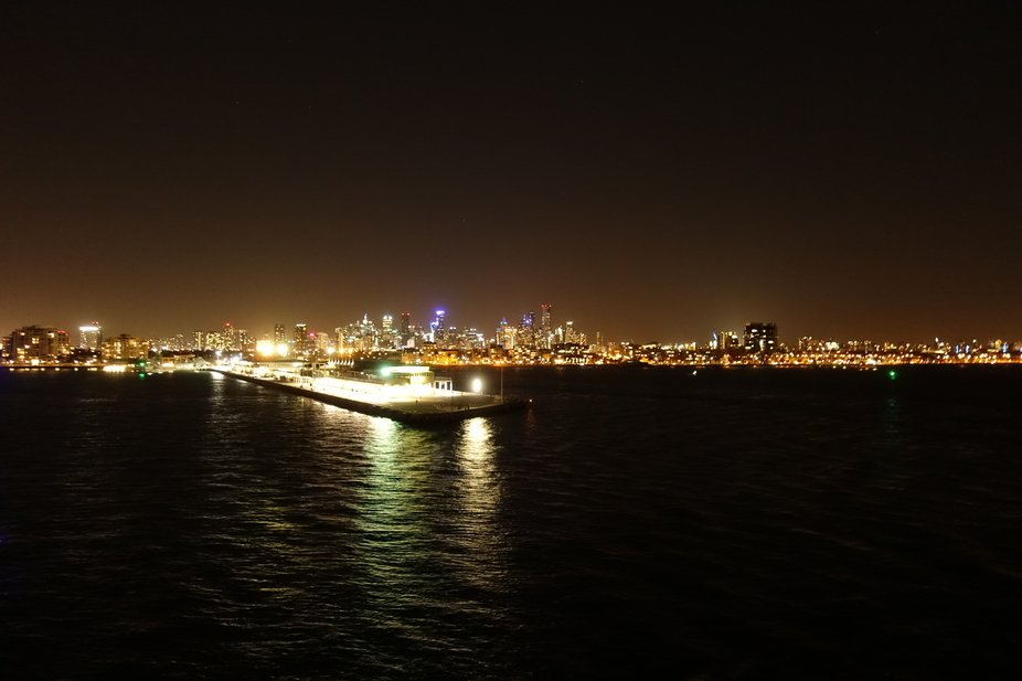 Views from the Spirit of Tasmania.  This was taken looking back to Melbourne Night Lights!