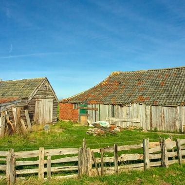 Barns made up of driftwood at the isle of Texel, Holland