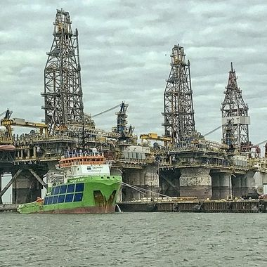 Three oil rigs standing by for a tow into the gulff from Aransas Pass, Texas