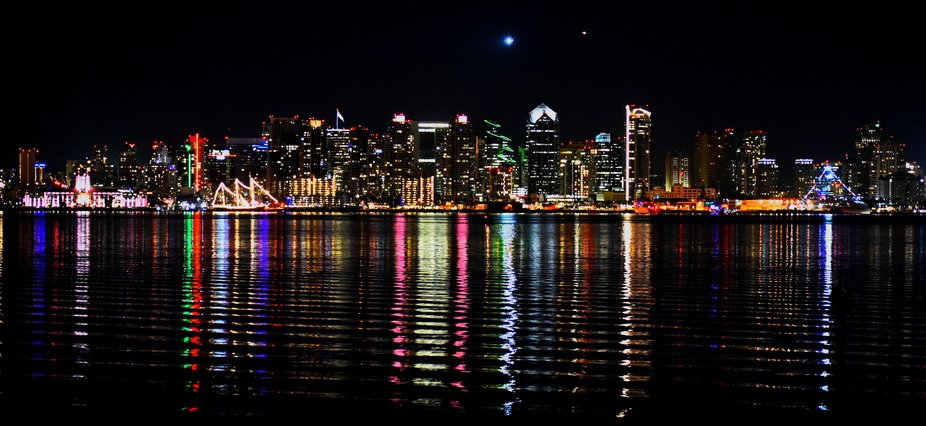 San Diego Skyline with reflections in the water taken from Point Loma.