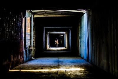 woman in the tunnel