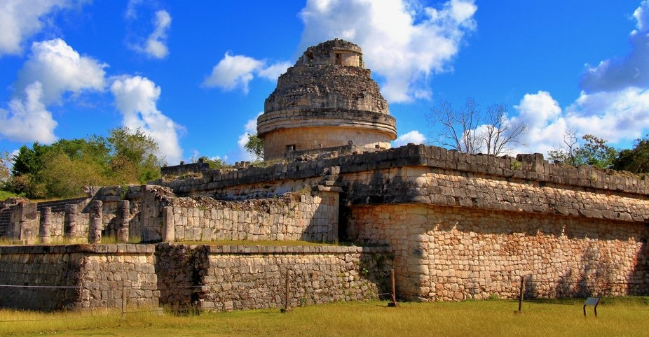 This photo was taken at Chichen Itza, the structure resembles an ancient observatory---