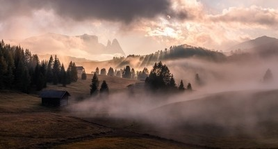 A 3 capture panorama shot taken just after a thunder storm in the Seiser Alm in the Italien Dolomites. by Theo-Herbots-Fotograaf
