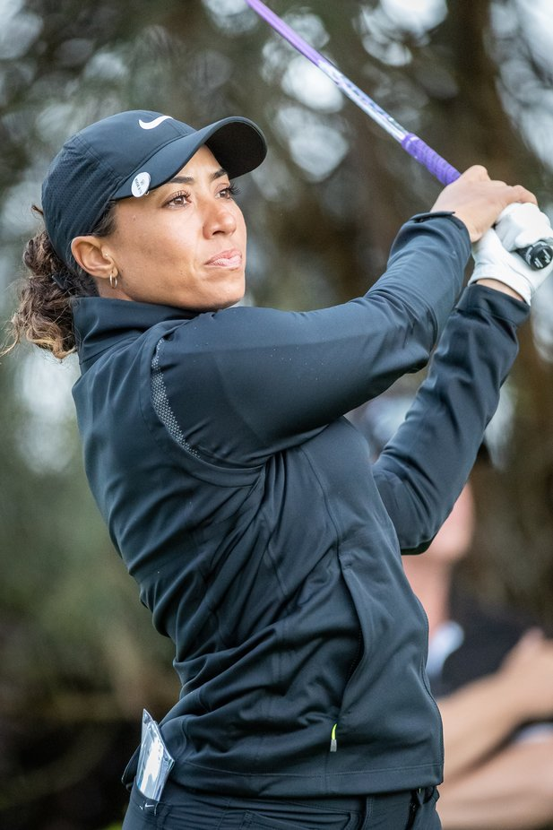 Cheyenne Woods in action early in the 3rd round at the ISPS Handa Vic Open played at 13th Beach Golf Course