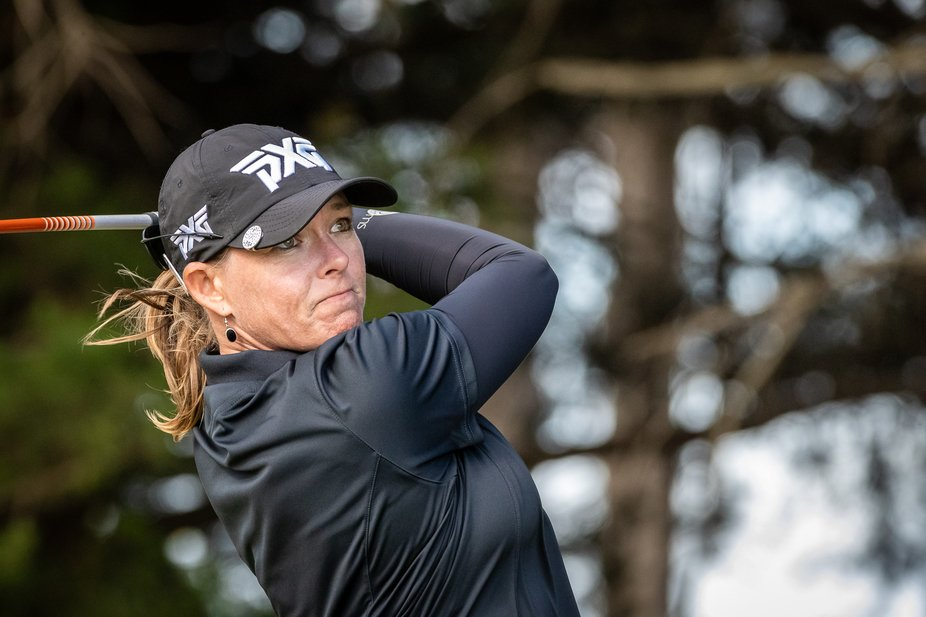 Katherine Kirk tees off in the 3rd round at the ISPS Handa Vic Open played at 13th Beach Golf Course