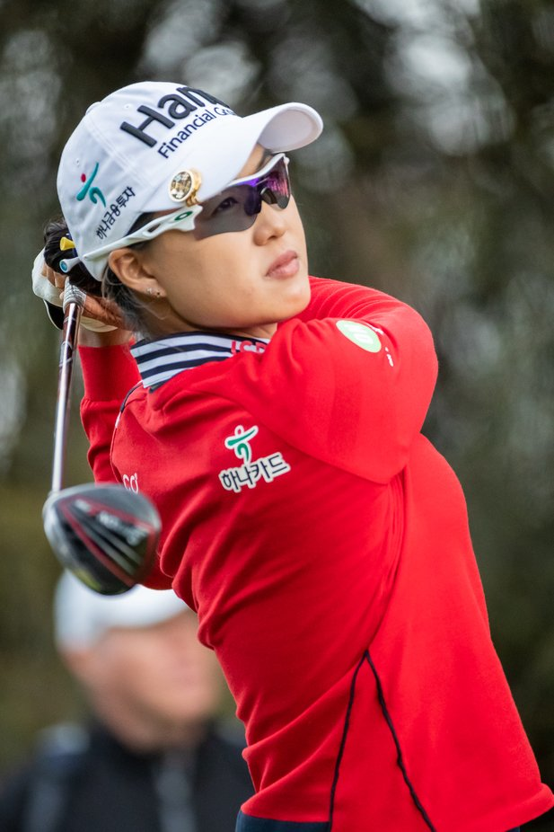 Minjee Lee watches her tee shot early in the 3rd round at the ISPS Handa Vic Open played at 13th Beach Golf Course