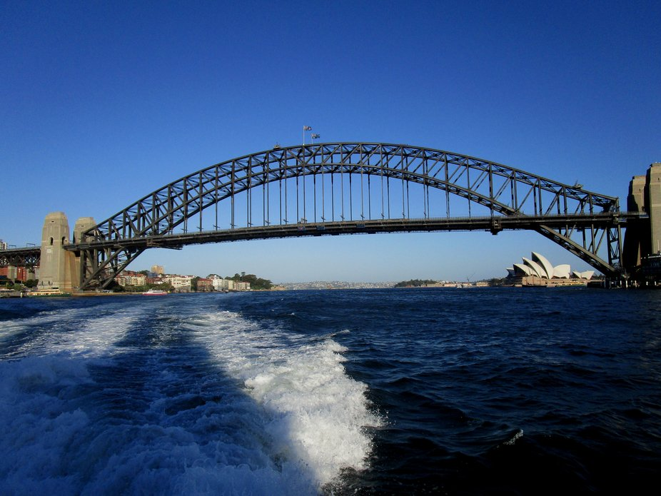 Sydney Harbour Bridge and Opera House in the background