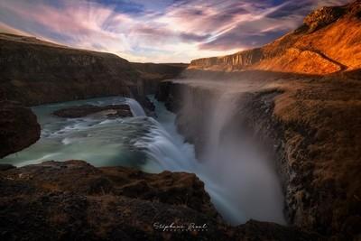 Gullfoss waterfall during sundown