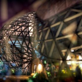 Double exposure of the Dali museum in St. Petersburg Florida taken at night.
