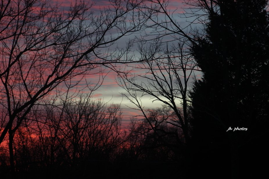 Sunrise on a cloudy, cold February morning