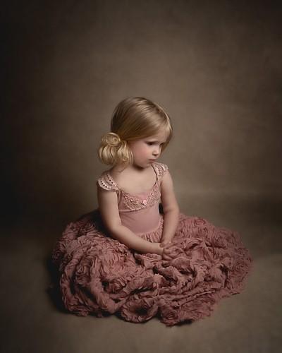 Painterly girl in rose dress