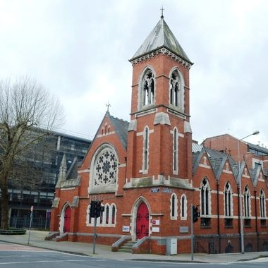 Former Presbyterian church, known as the sinking church, now houses offices, from 1899