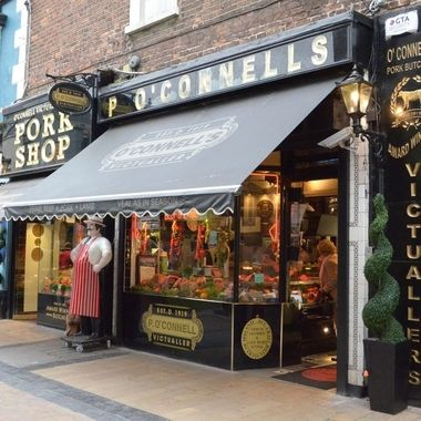 One of the many independent butcher shops in the city, Limerick is often referred to as Pig Town