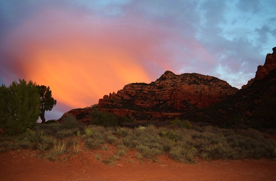 The most unusual sunset I have ever seen. The photo was taken while on a jeep tour of Sedona red ...