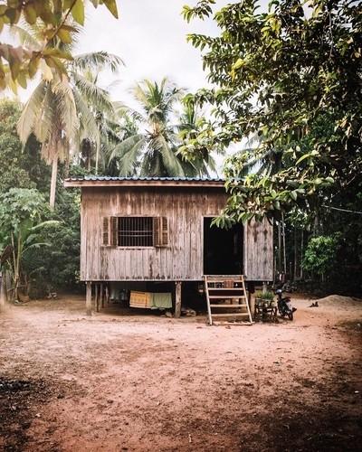 Wooden shack.
