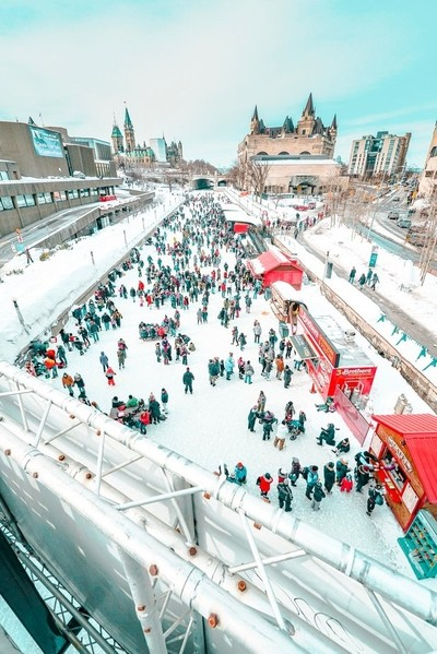 Views of Ottawa's winter festival Winterlude, paret of which is celebrated on the UNESCO site, Rideau Canal