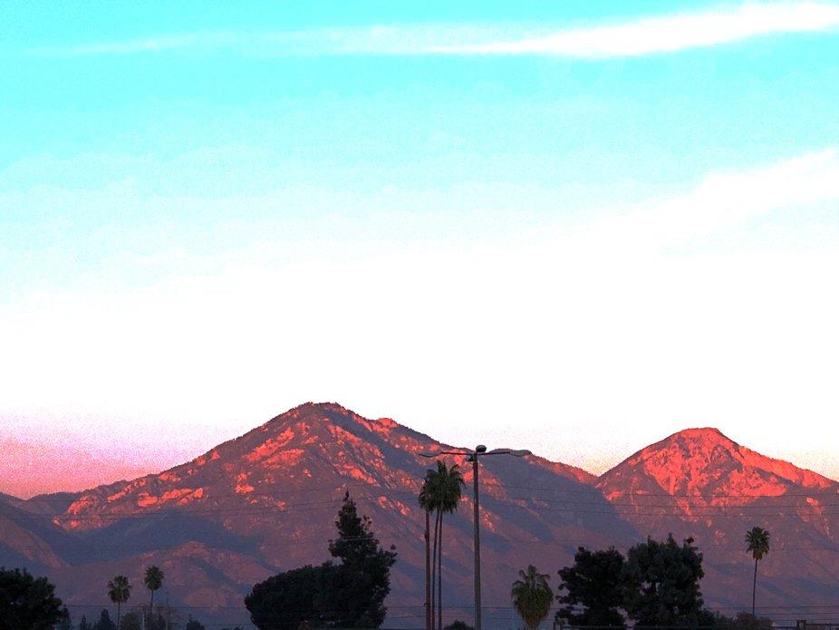 Sunset light shining on mountains