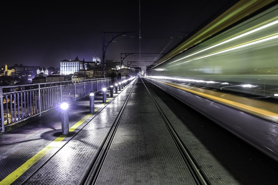 A little blur motion of the metro passing by on the Dom Luis Bridge in Porto, Portugal