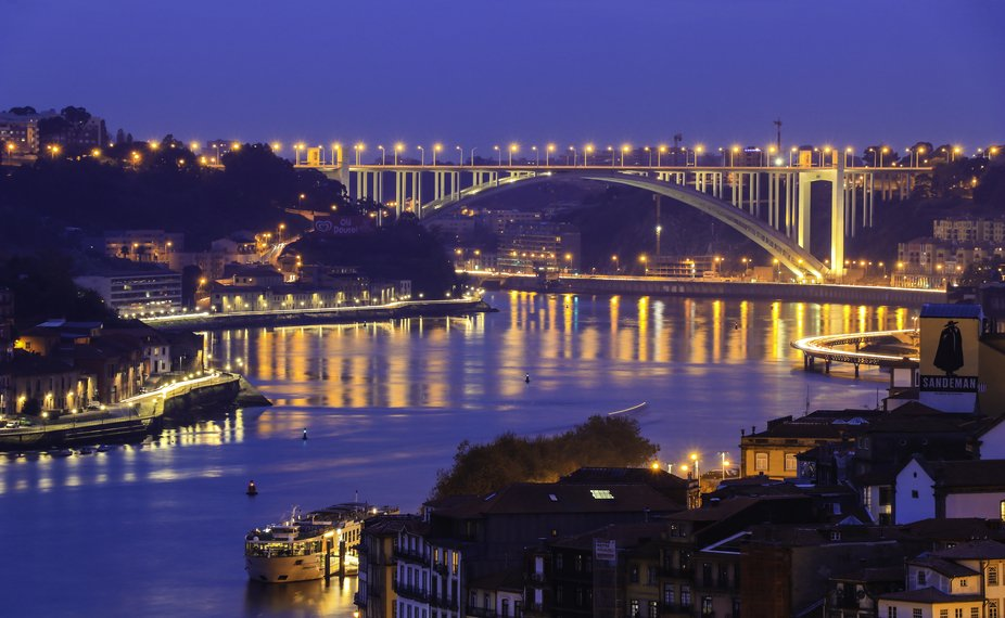 This is a shot of the Arrabida Bridge in Porto District of Portugal. This shot was taken at the t...