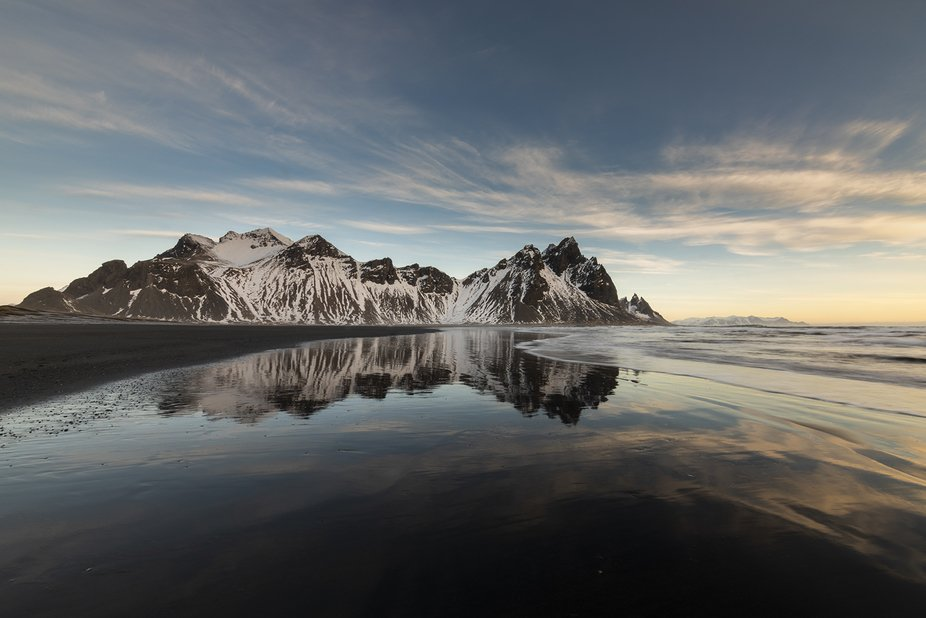 Vestrahorn beach reflection