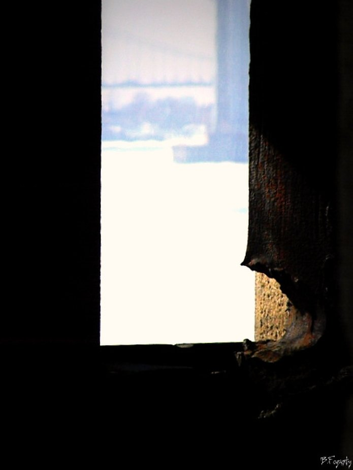 view from one of the look out window opening at Fort Totten