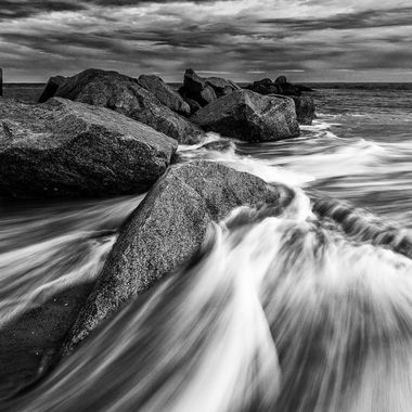 Rocks and Water in Black and White