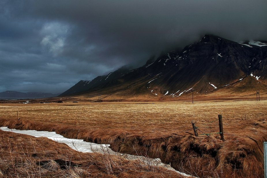 Cloud covered mountains in Iceland.