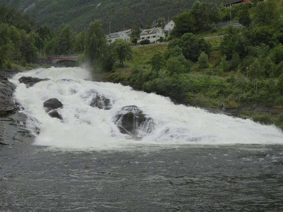 Waterfall in the town of Hellesylt norway