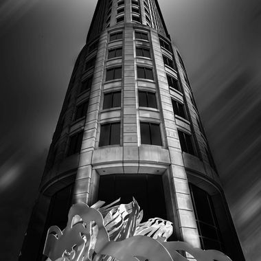 Low angle of building & artwork