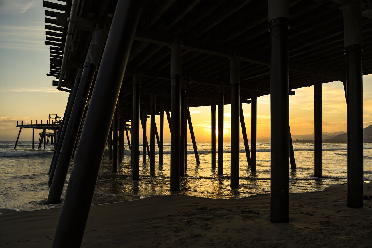Pier at the west coast of USA during sunset