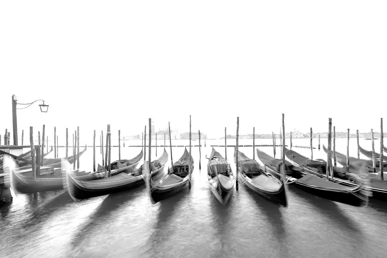 Gondolas in Venice at St Mark´s square -long exposure
