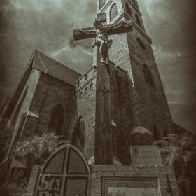 "Photograph taken in full daylight in front of St. Peter's church in downtwon St. Petersburg Florida post processed using a ""wetplate&qu..."