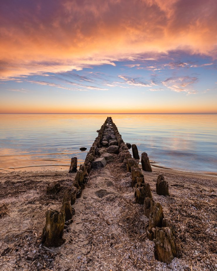 Old jetty in The Netherlands at sunset  by TimmyR - Image Of The Month Photo Contest Vol 42