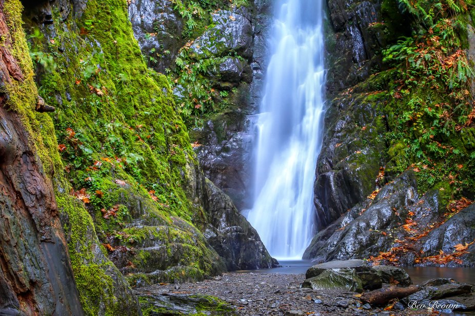 A wonderful little water falls in Goldstream Park, on Vancouver Island, British Columbia, Canada....