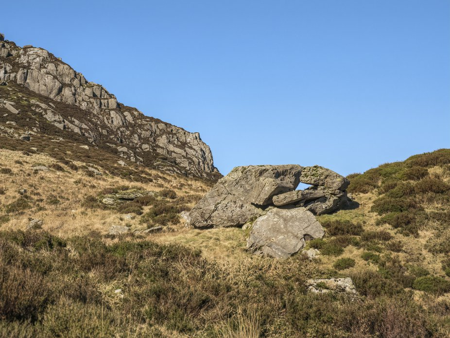 Large rocks which have previously been detached from the cliffs of Y Garn in Snowdonia.