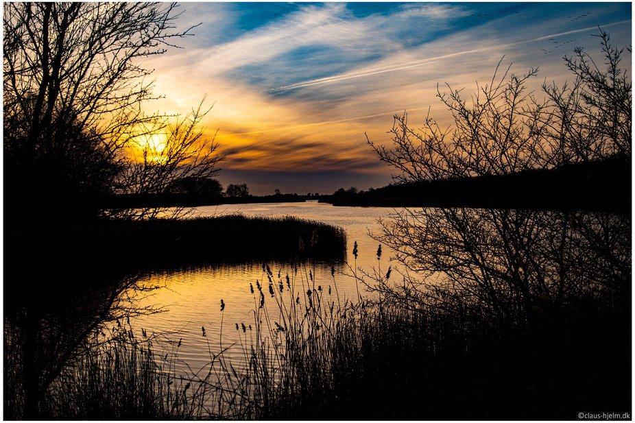 Dagens sidste solstråler ved Oldenor på Nordals. Denmark