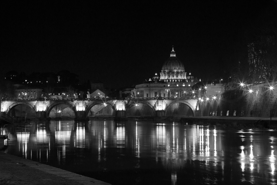 Walking along the river near Vaticanstate in the city of Rome.