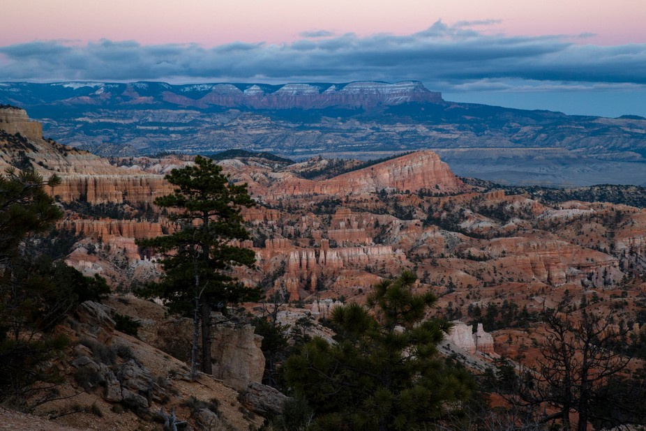 This is an image of Bryce Canyon at sunset taken in early October.