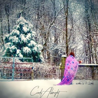 """This was a magical day, much like a fairytale.  Big white fluffy flakes, and my Granddaughter running around in her blanket """"cape"""", lost in her imaginary kingdom"""