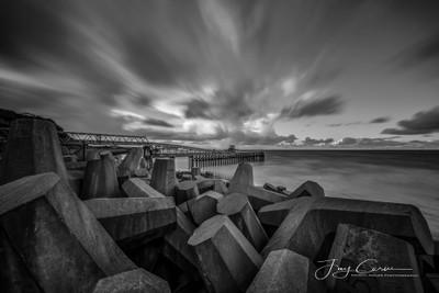 Sea defences north Wales long exposure