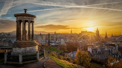 Sunset over Edinburgh castle