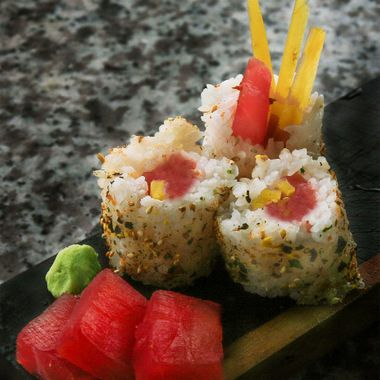 was board and hungry, so shot some sushi. Canon 30D, 18mm lens, outside over cast day. asa 100