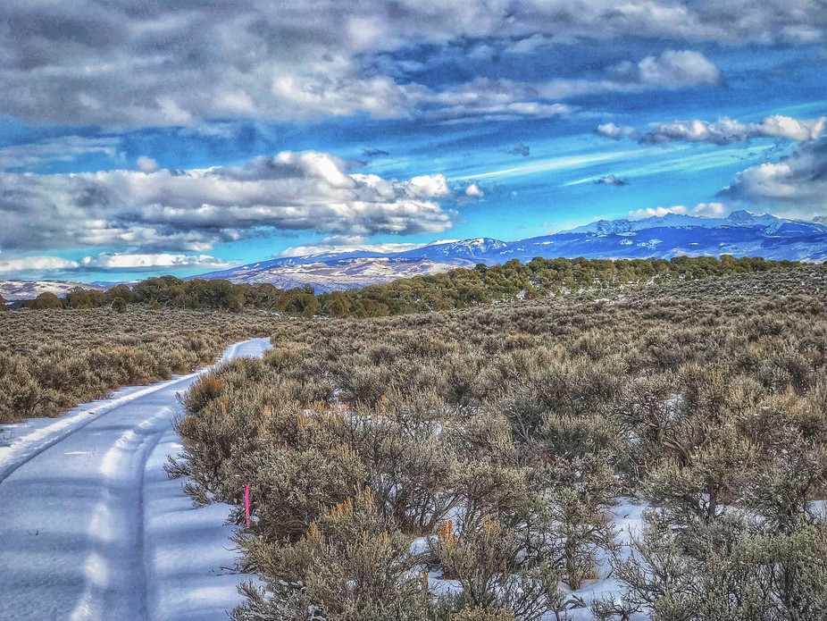 . . . from a snow-covered trail in BLM lands near Gypsum, Colo.